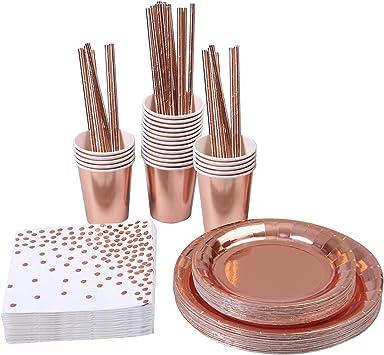 Amazon.com: Aneco 146 piezas oro rosa suministros de fiesta ...