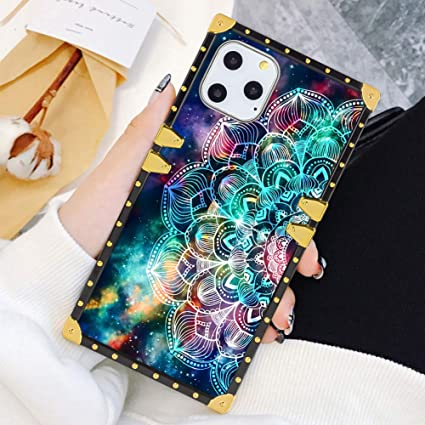 Square Case Compatible Iphone 11 Pro Max 2019 6 5 Inch Mandala In Galaxy Luxury Elegant Soft Tpu Full Body Shockproof Protective Case Metal Decoration