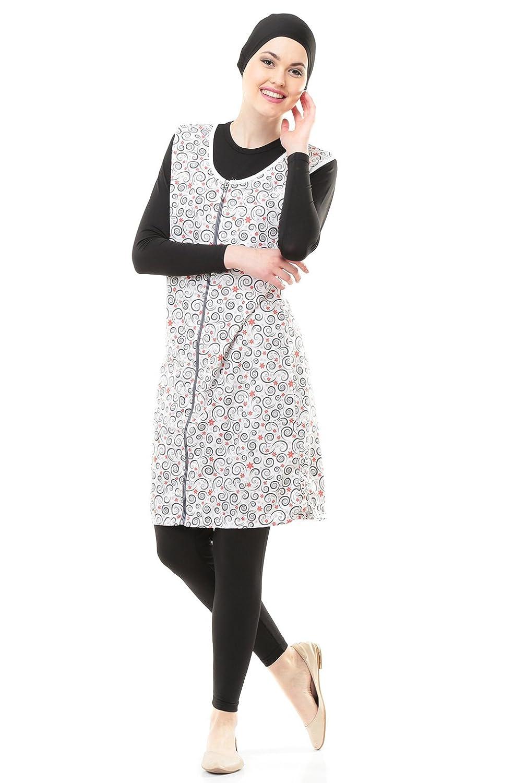 Full Cover Bescheidene Badebekleidung Modest Muslim Swimwear Beachwear Burkini für muslimische frauen (44, schwarz)
