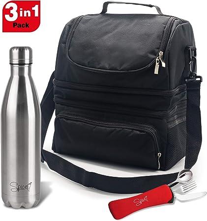 SPICE Borsa Termica Caldo e Freddo capacit/à 8 L con Tracolla Porta Pranzo Bottiglia Termica Acciaio Inox 500 ml Doppia Parete BPA Free