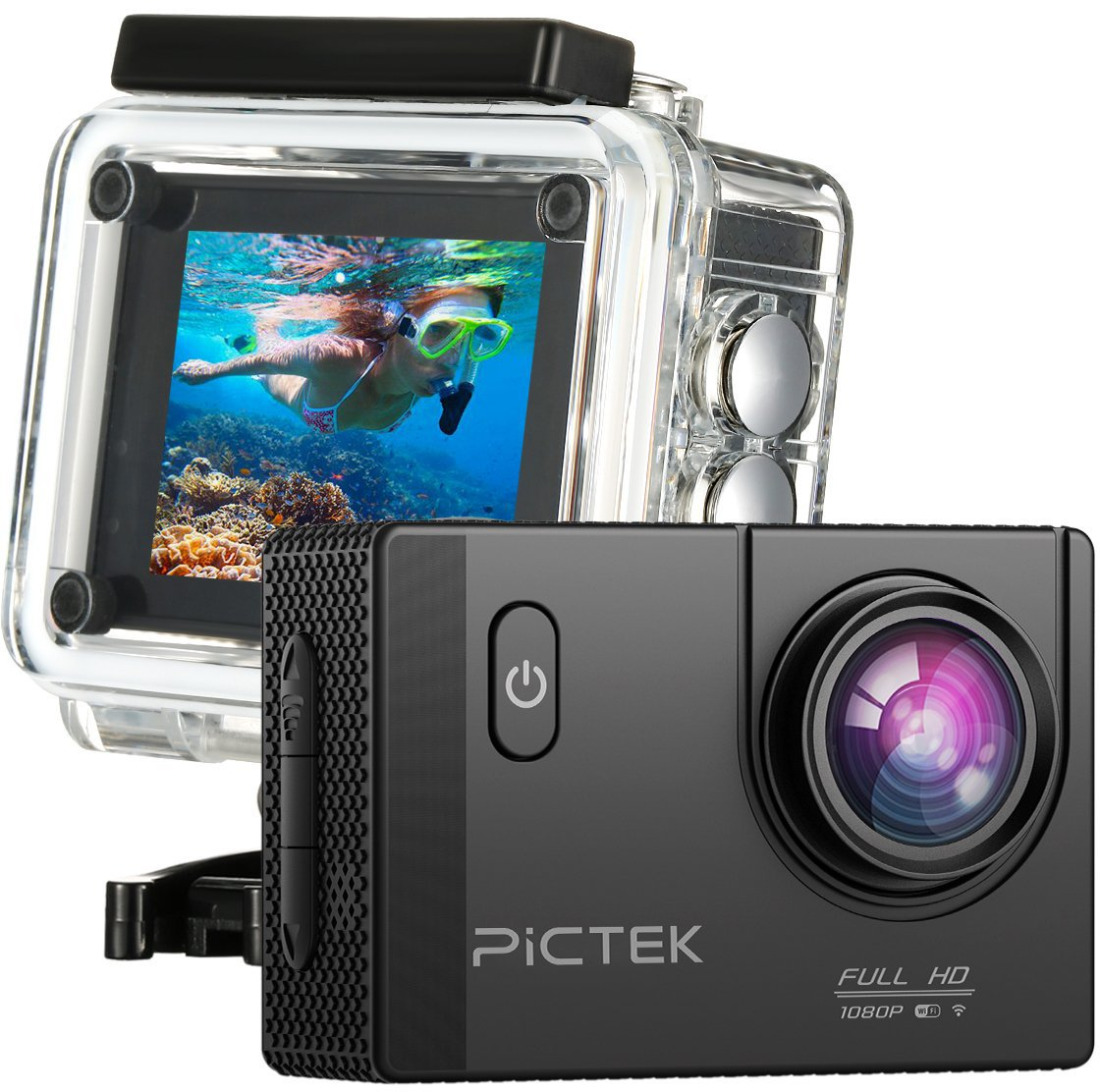 Pictek WiFi Action Camera, [Upgraded Version]Full HD 1080P 30M Underwater Camera, Outdoor Anti-shaking Sports Camera with 170° Ultra Wide-Angle Len/ 2-inch HD LCD Display/ 2Pcs Rechargeable Batteries/ Outdoor Accessories Kits/ Built-in WiFi 632423496810