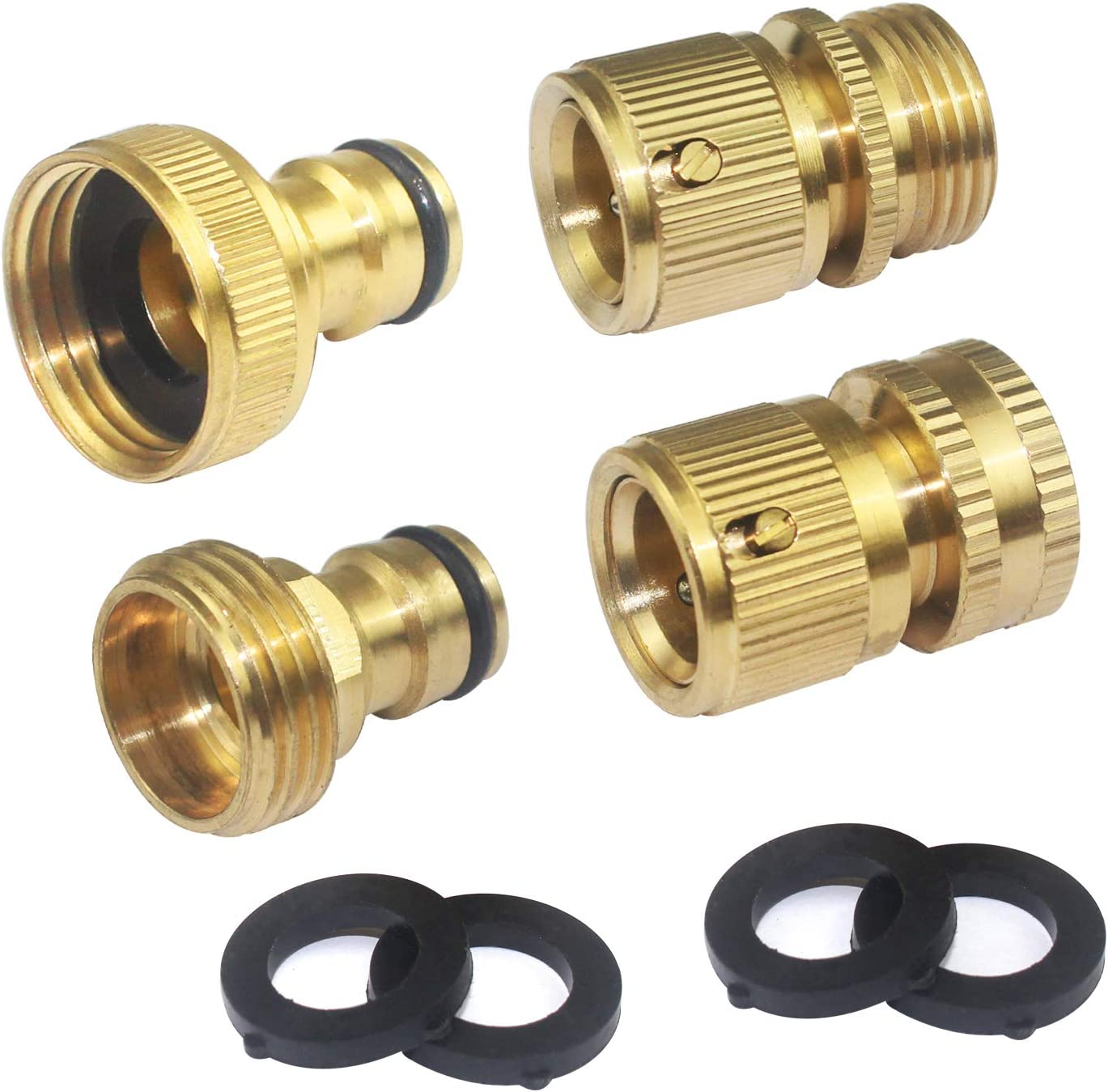 WeiMeet 4 Pieces Hose Connectors Garden Hose Quick Connectors 3/4 Inch Brass Female and Male Connectors Female and Male Nipples