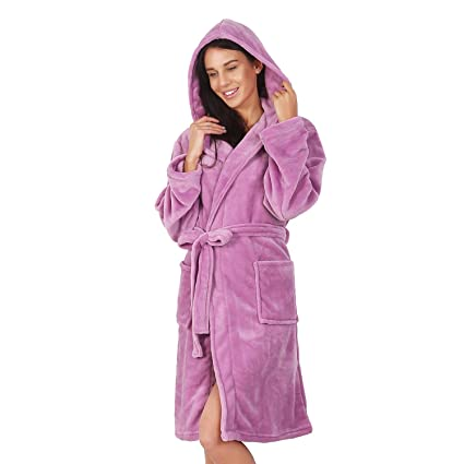 Albornoz XS Corto Mujer Hombre Unisex Capucha Bata Microfibra Suave Agradable Ligero Fleece Lila Robby
