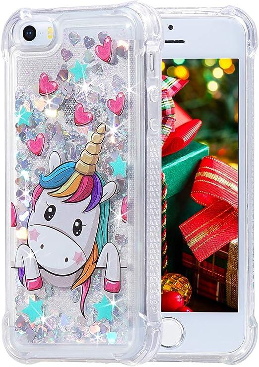 iPhone 5 5s SE Case, Flocute iPhone 5s Glitter Case Unicorn Pattern Bling Sparkle Floating Liquid Soft TPU Cushion Luxury Fashion Girly Women Cute ...