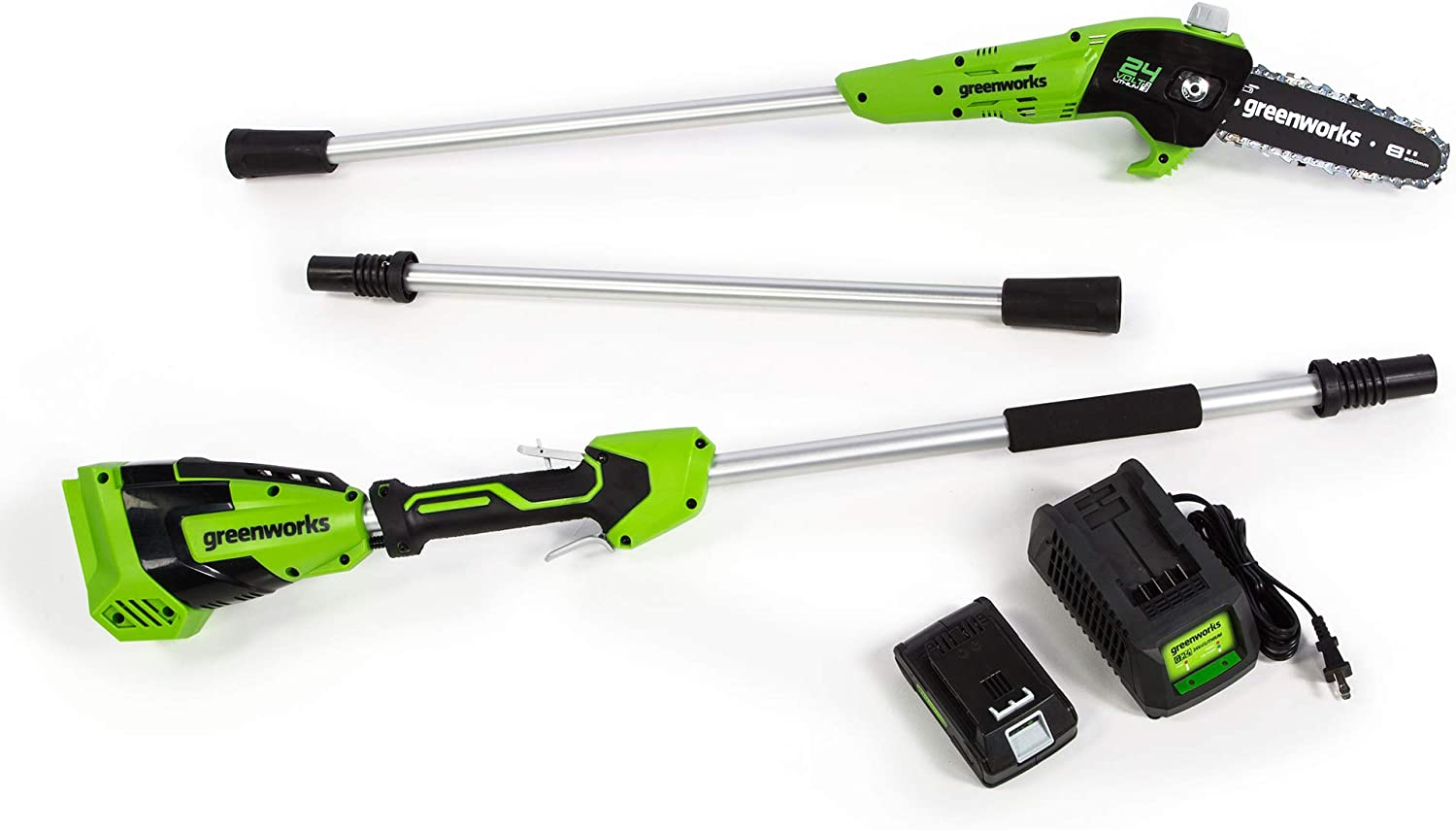 Greenworks PS24B210 8-Inch 24V Cordless Pole Saw, 2Ah Battery