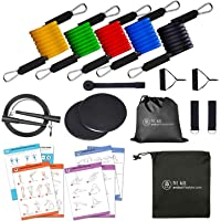 11 PC Resistance Tube Band Set with Door Anchor, Ankle Straps, Handles, 5 PC Resistance Tubes for Home Gym Physical…