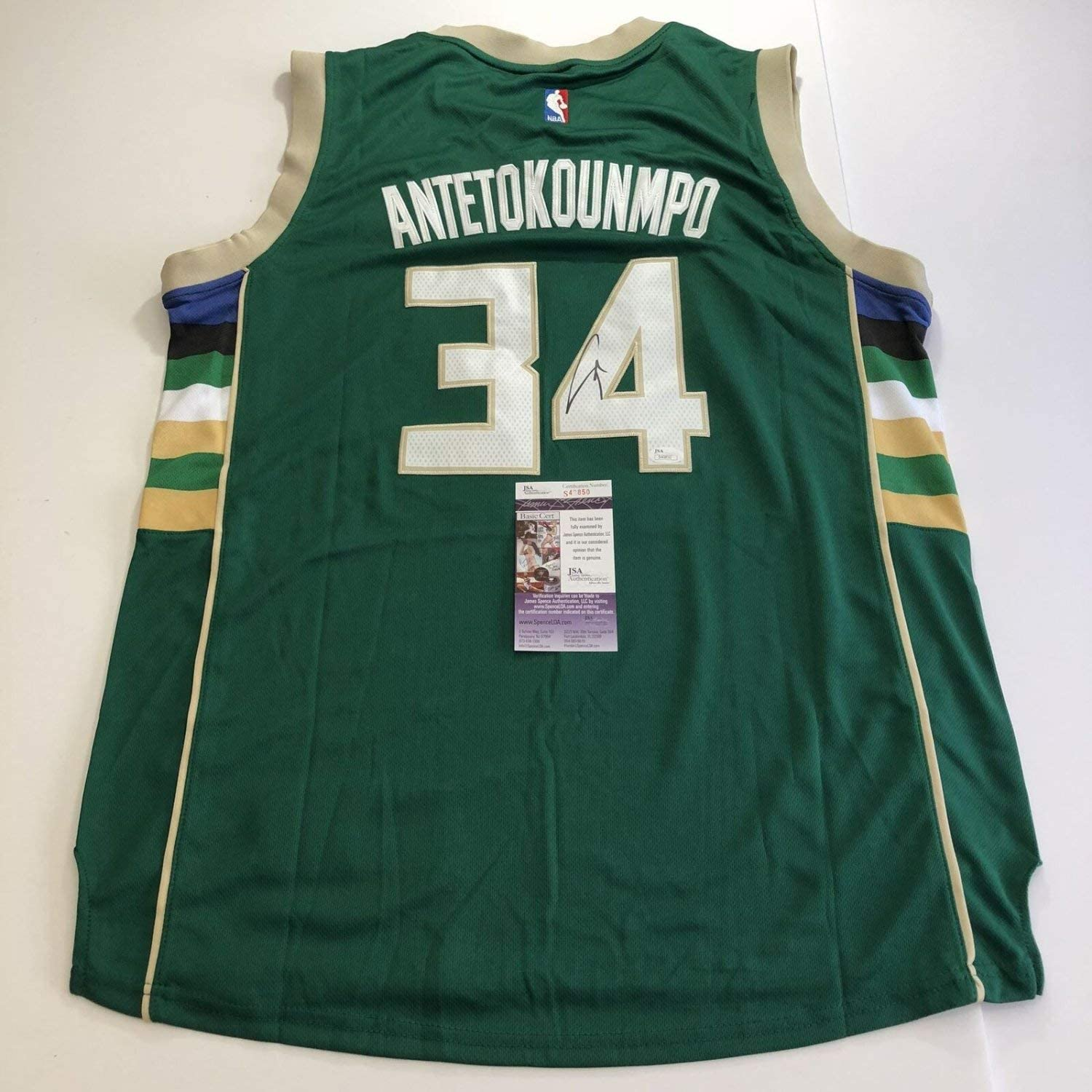 Giannis Antetokounmpo Autographed Signed Jersey JSA Milwaukee Bucks Autographed