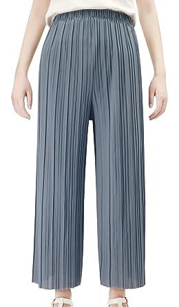 Taille Lâche Uni À Evasé Pants Long Mode Grande Femme Elastique Palazzo Haute Ample Respirant Plissé Large Pantalon Feoya Jambe eE2IbHWD9Y