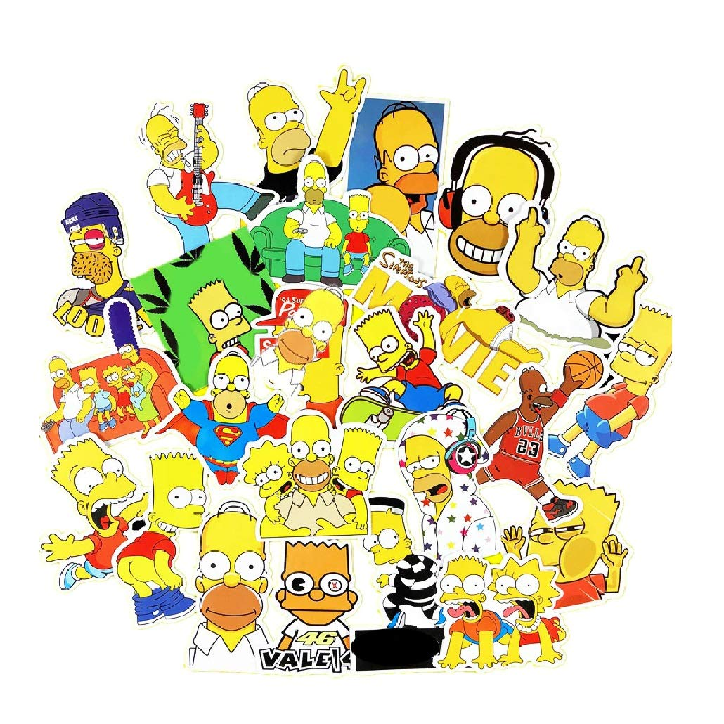 Juego de 24 Pegatinas de The Simpsons Vinilos https://amzn.to/2Ufy67h