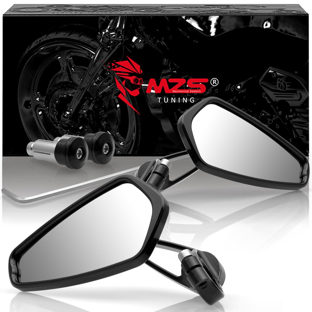 MZS Motorcycle Rear View CNC Bar End Mirrors for Honda GROM MSX125 CB500F / Kawasaki Z125 pro Z650 Z750 Z800 Z900 ER6N ER6F / Yamaha MT-03 MT-07 FZ-07 MT-09 FZ-09 MT-10 FZ-10 MT-25 FZ6 FZ8 FZ6R