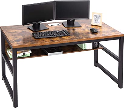 Amazon Com Topsky 55 Computer Desk With Bookshelf Metal Hole Cable Cover 1 18 Thick Desk Rustic Brown Office Products