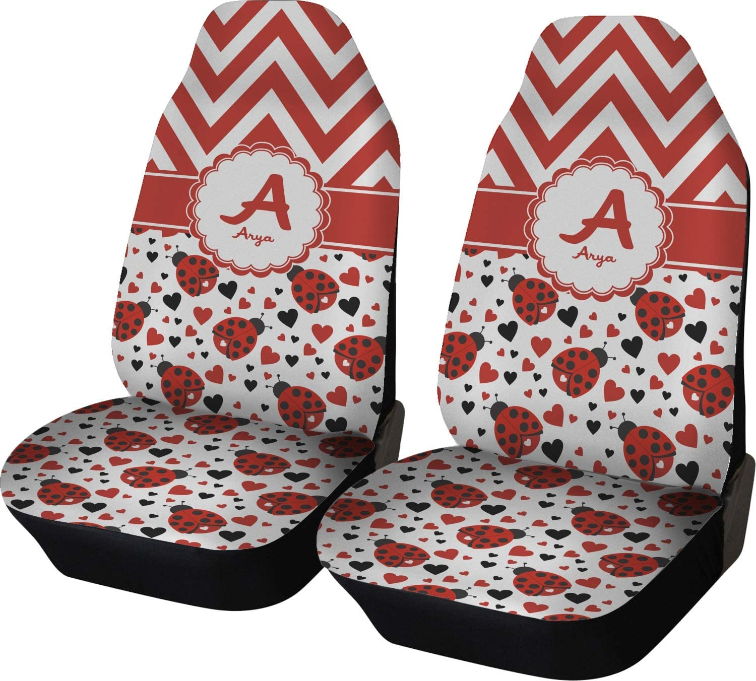 INTERESTPRINT Ladybug Car Seat Covers Polyester Fabric One Side Printing Protector Dust Proof Set of 2