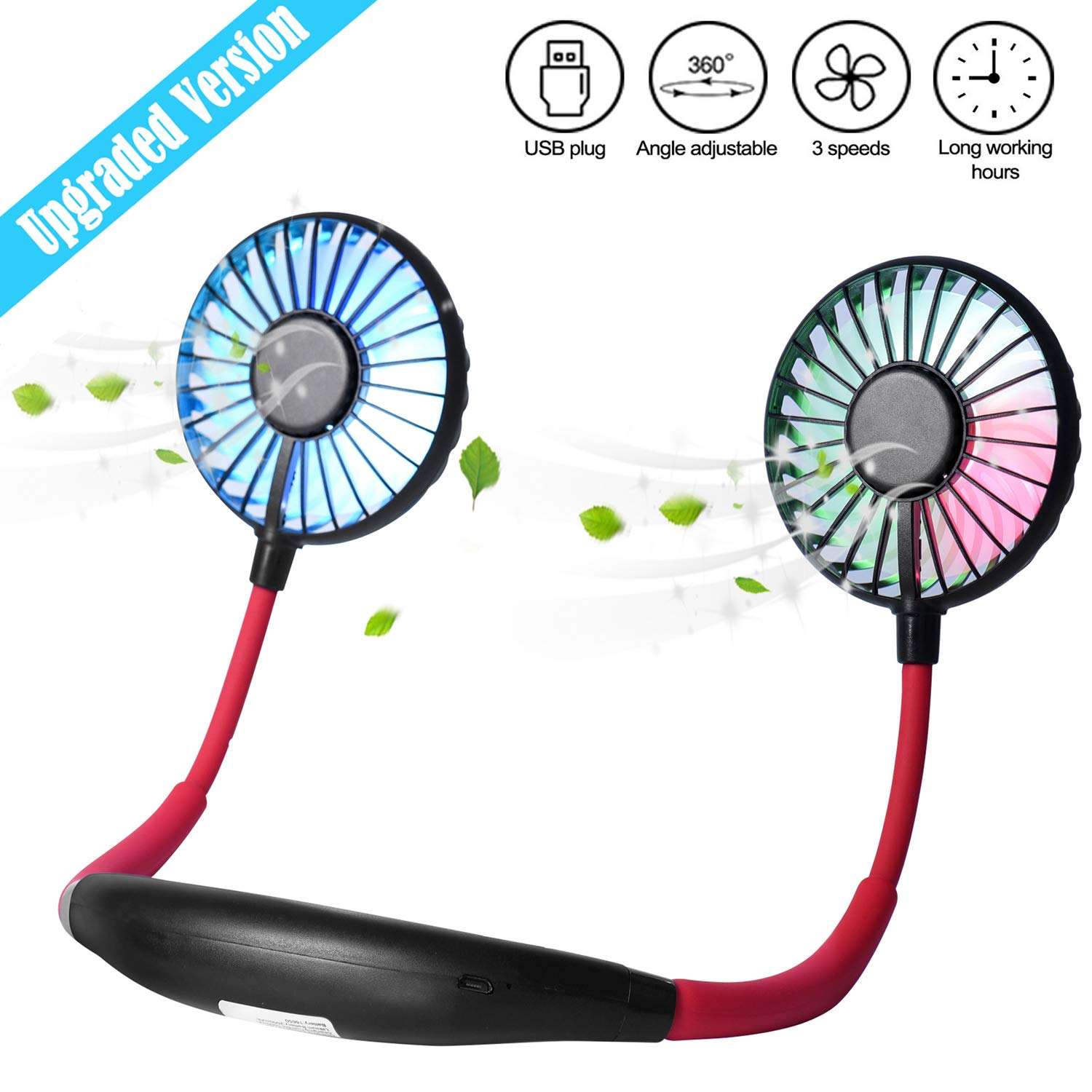Upgraded Version Portable Neck Fan, Color Changing LED, with Aromatherapy, 360 Free Rotation, and Lower Noise Strong Airflow Headphone Design for Sport, Office, Home, Outdoor, Travel, etc.