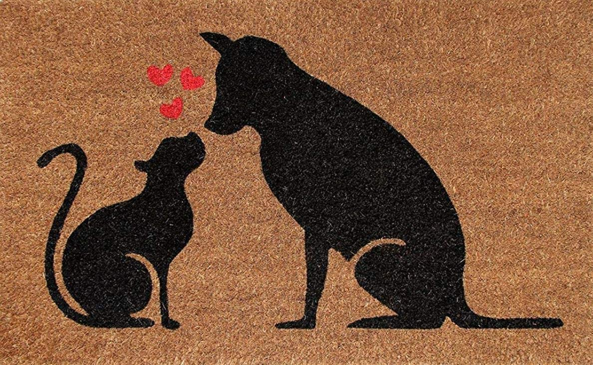 Designer Welcome Natural Coir Non Slip Doormat for Patio, Front Door, All Weather Exterior Doors 18 X 30 Inch Animal Cat Dog Love Heart