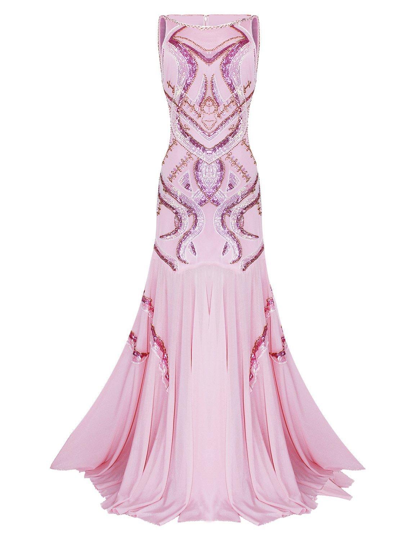 Vijiv Women's 1920s Beaded Straps A-Line Floor Length Gatsby Prom Evening Dress, Water Pink, Large