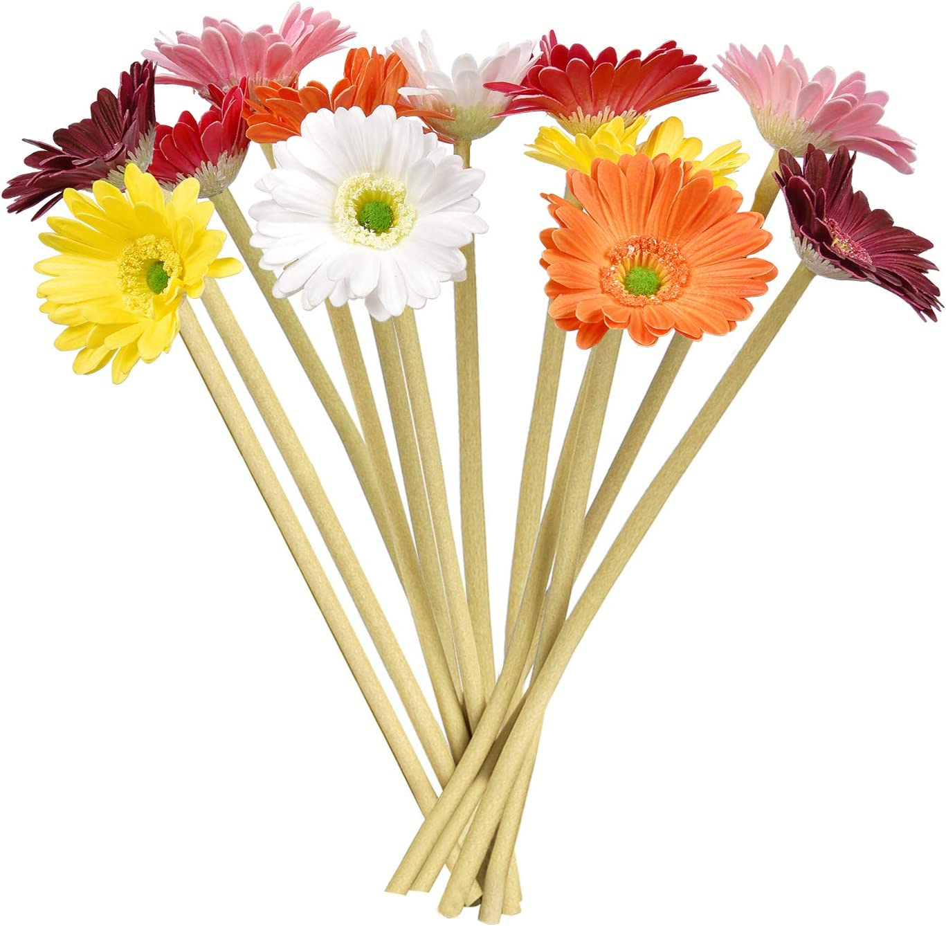 "Martine Mall 12pcs Multi Color Artificial Daisy Bouquet 12.6"" Tall Fake Daisy Stems Multicolor Daisy Flower Bulk Gerbera Daisy Flower for Party Home Kitchen Garden Wedding Decorations"
