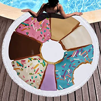 Pizza Toalla de playa grande redondo microfibra toalla de playa hippie boho playa manta Picnic pared Alfombra para yoga (150 cm 1: Amazon.es: Hogar