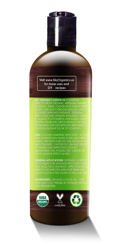 Castor Oil (16oz) USDA Organic Cold-Pressed, 100% Pure