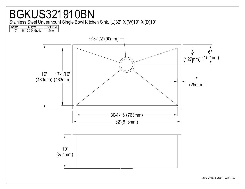 W Brushed H L x 19 x 10 Kingston Brass BGKUS321910BN Wishaw Undermount Single Bowl Kitchen Sink 32