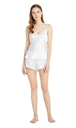 779c7ef667 LILYSILK Womens Silk Camisole Pajama Set 100 Mulberry 22 Momme Sexy Sleep  Lingerie Basic Camis Shorts Night Two Piece Sets - White -  Amazon.co.uk   Clothing