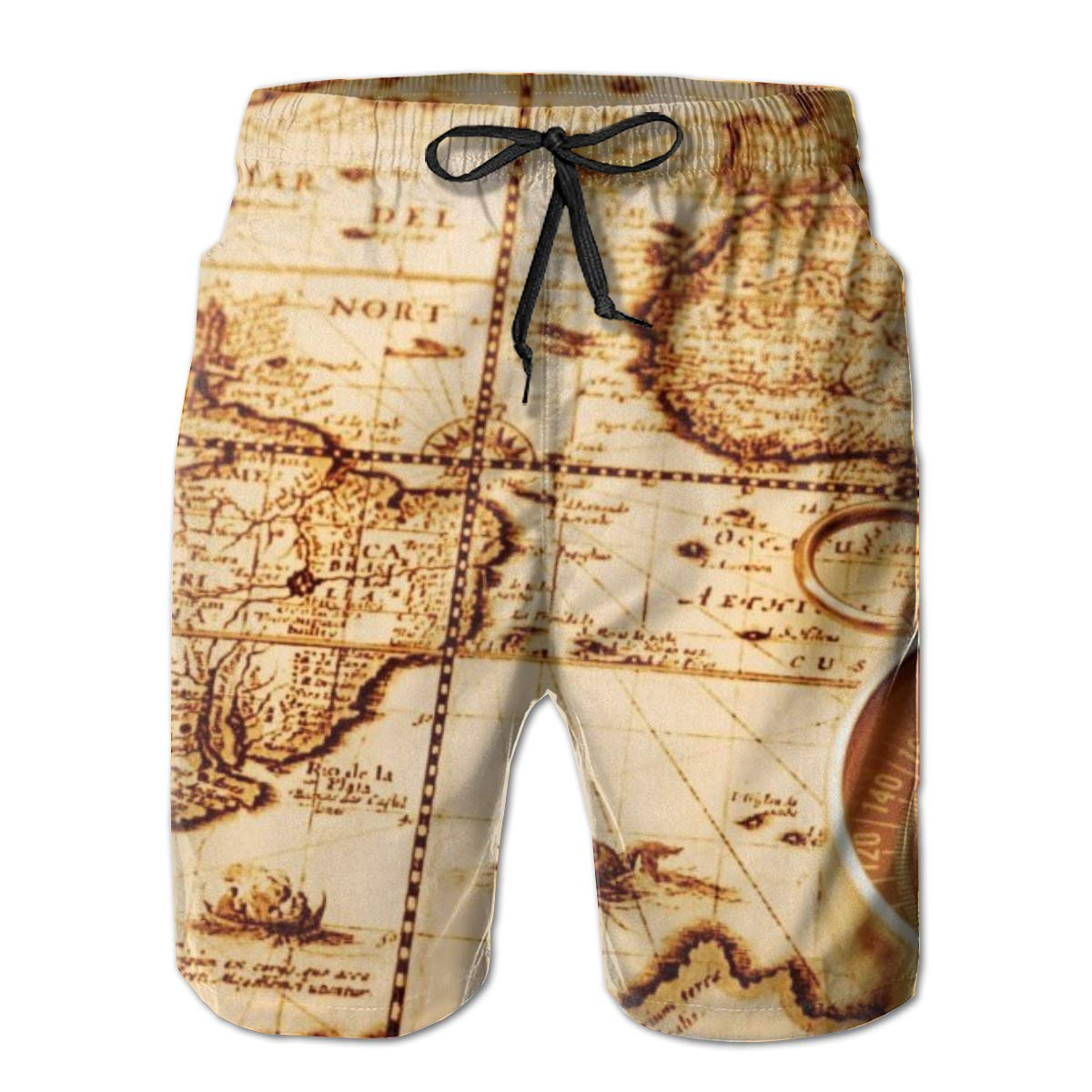 Earth Vintage Retro World Map Art Mens Swim Trunks Quick Dry Beach Swim Shorts