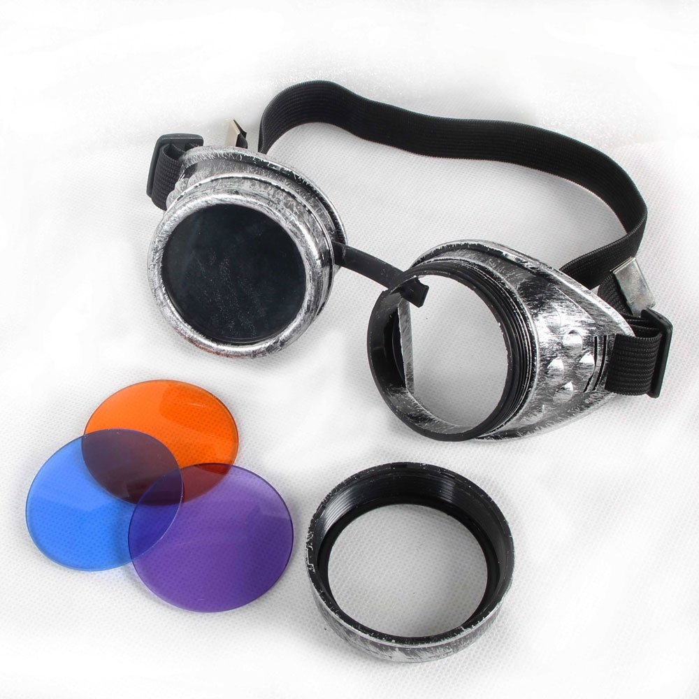 100% ABS Costume Props Cosplay Vintage Steampunk Goggles Glasses Welding Cyber Punk Gothic (Old Silver Frame) by FUT (Image #2)