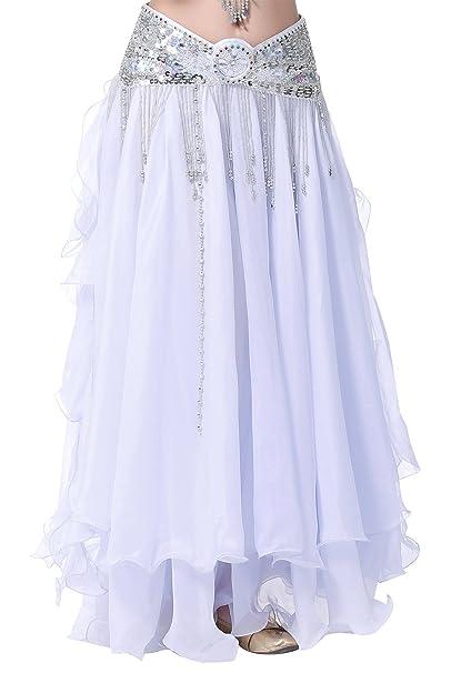 BELLYQUEEN - Falda de Danza de Vientre para Mujer Cintura Elástica ...
