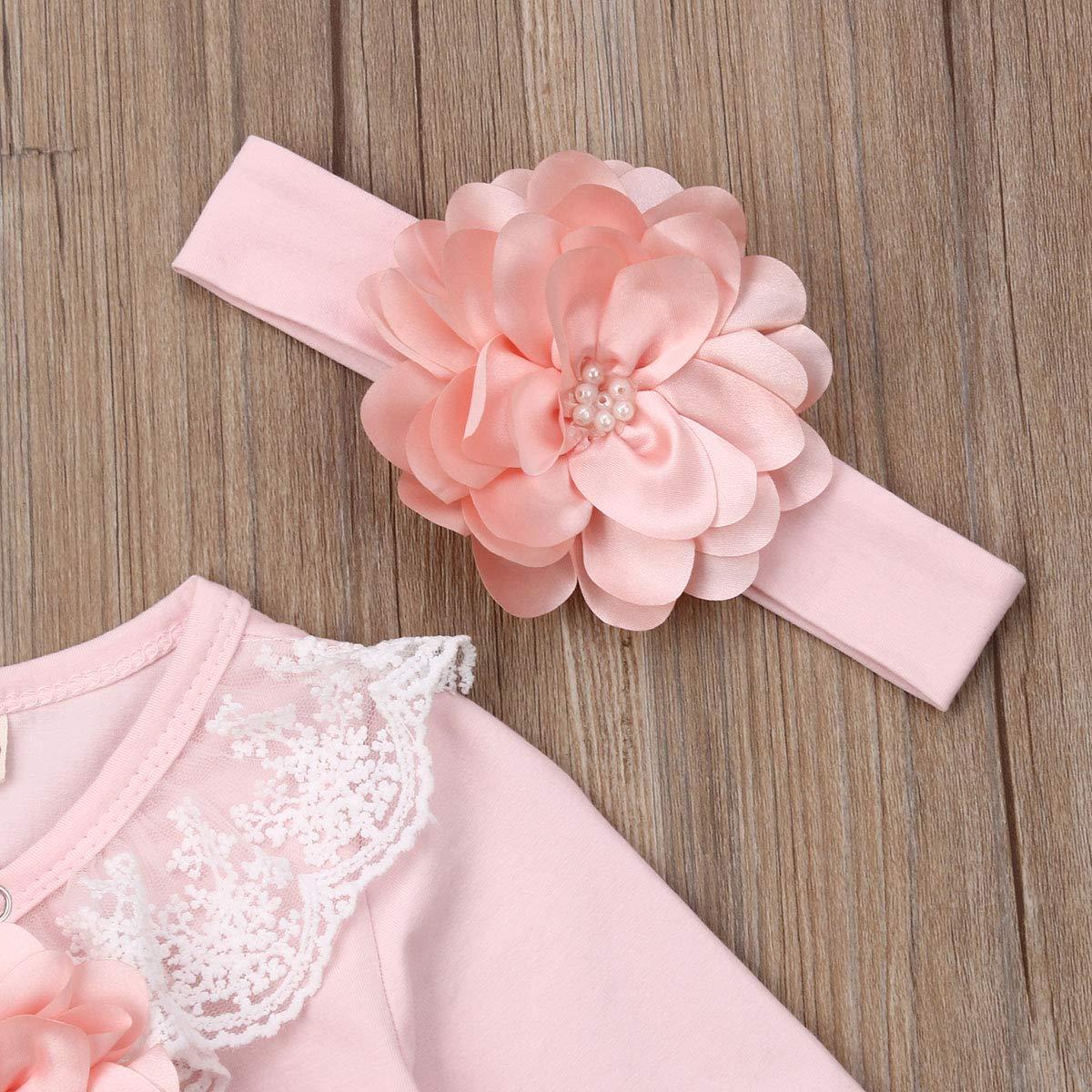 Newborn Baby Girl Long Sleeve Lace Floral Nightgowns Headband Set Sleepwear Sleeping Bag Infant Pajamas
