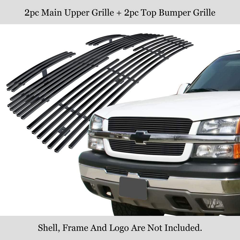 APS Compatible with 03-05 Silverado 1500 03-04 2500 Black Main Upper Billet Grille Com C67675H