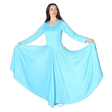 3b2b17a161edb Danzcue Womens Praise Loose Fit Full Length Long Sleeve Dance Dress (Small,  Aqua Blue