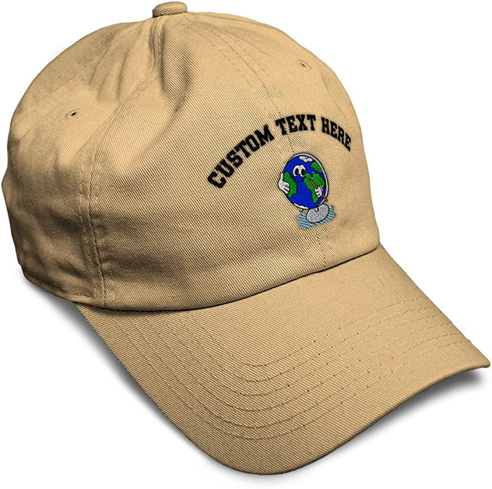 Custom Soft Baseball Cap Globe with Pencil in Hand Embroidery Twill Cotton