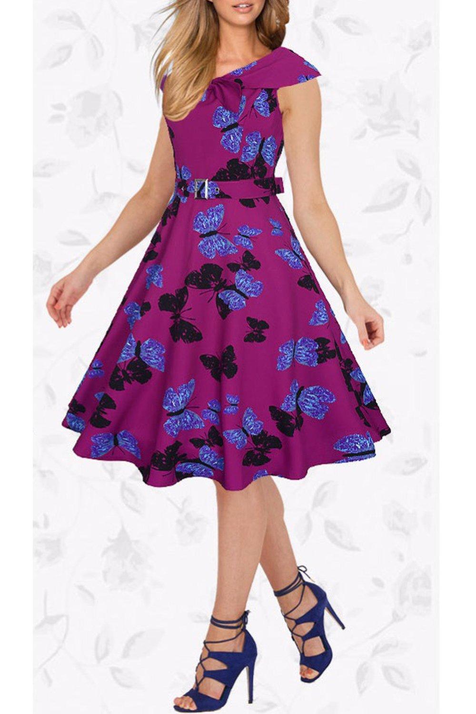 Mujeres Vintage Floral Print Swing Una Linea De Vestido De Fiesta De ...