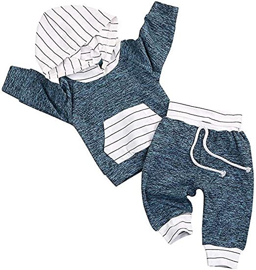 US Infant Baby Boy Stripe Cotton Tops T-shirt Leggings Pants  Clothes Set Autumn