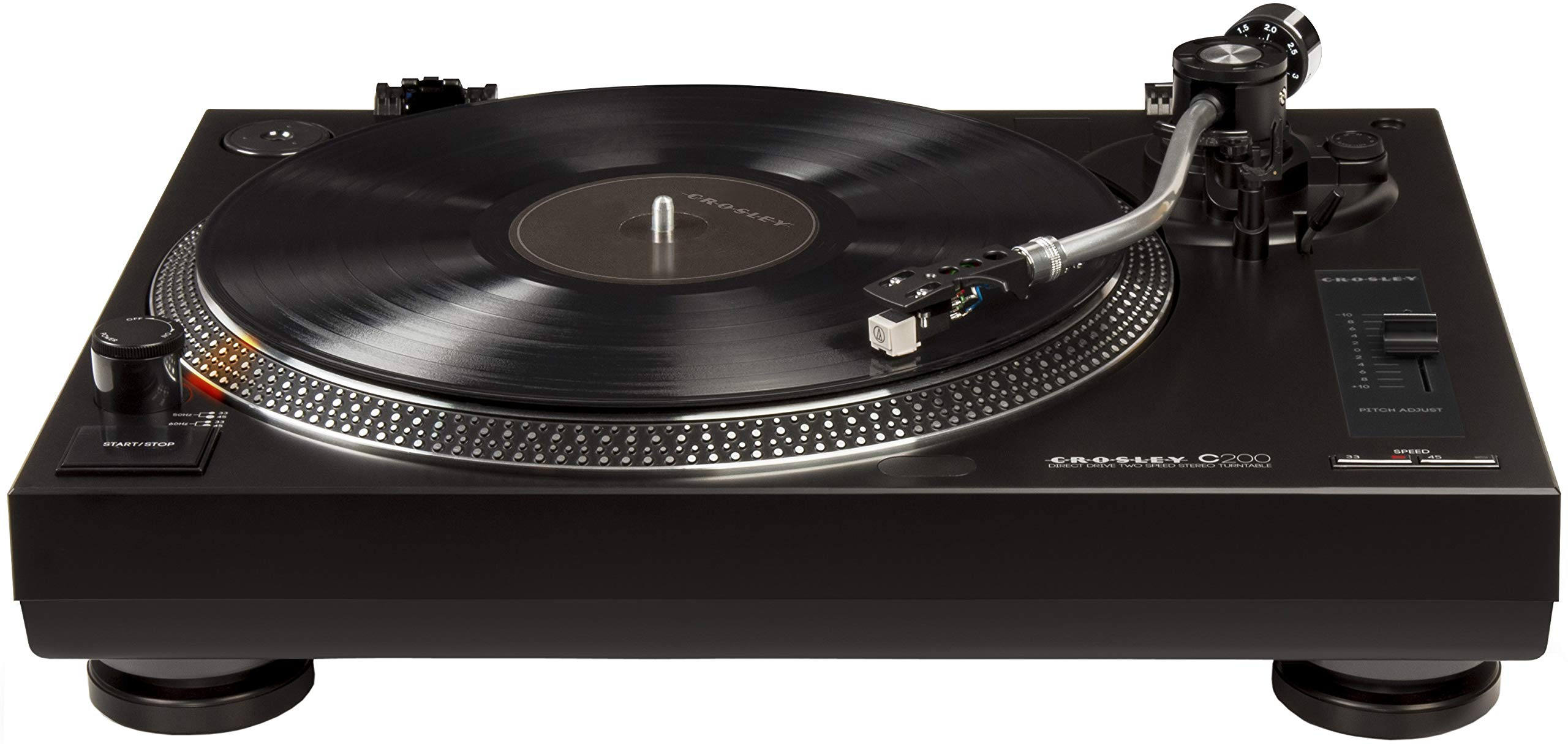 Crosley C200 Direct-Drive Turntable with S-Shaped Tone Arm, Black by Crosley