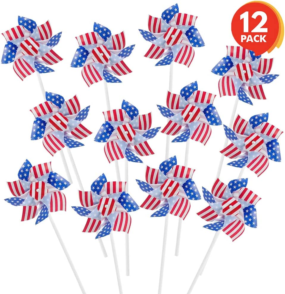 ArtCreativity 6 Inch Stars and Stripes Pinwheels - Set of 12 - Red, White, and Blue - Independence Day Decorations, July 4th Decor for Yard, Garden, Lawn - Patriotic Party Favors for Kids, Adults