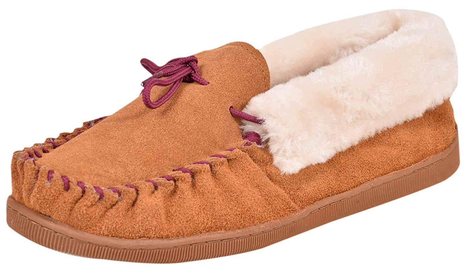 Ladies Moccasin Slipper Slip on with Warm Faux Suede Fur lining Collar Fleece UK
