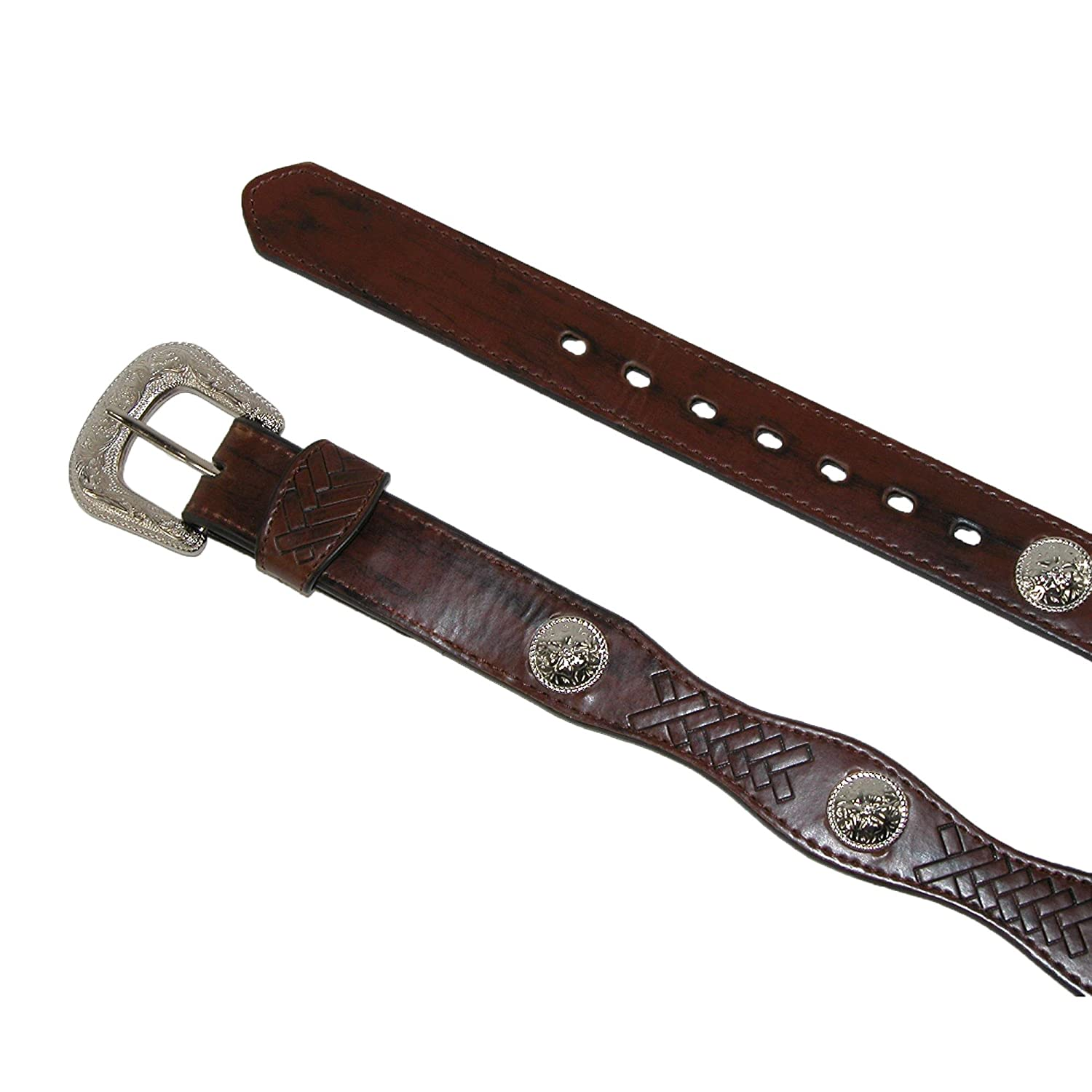 Girls Leather Western Belt with Conchos Black Small
