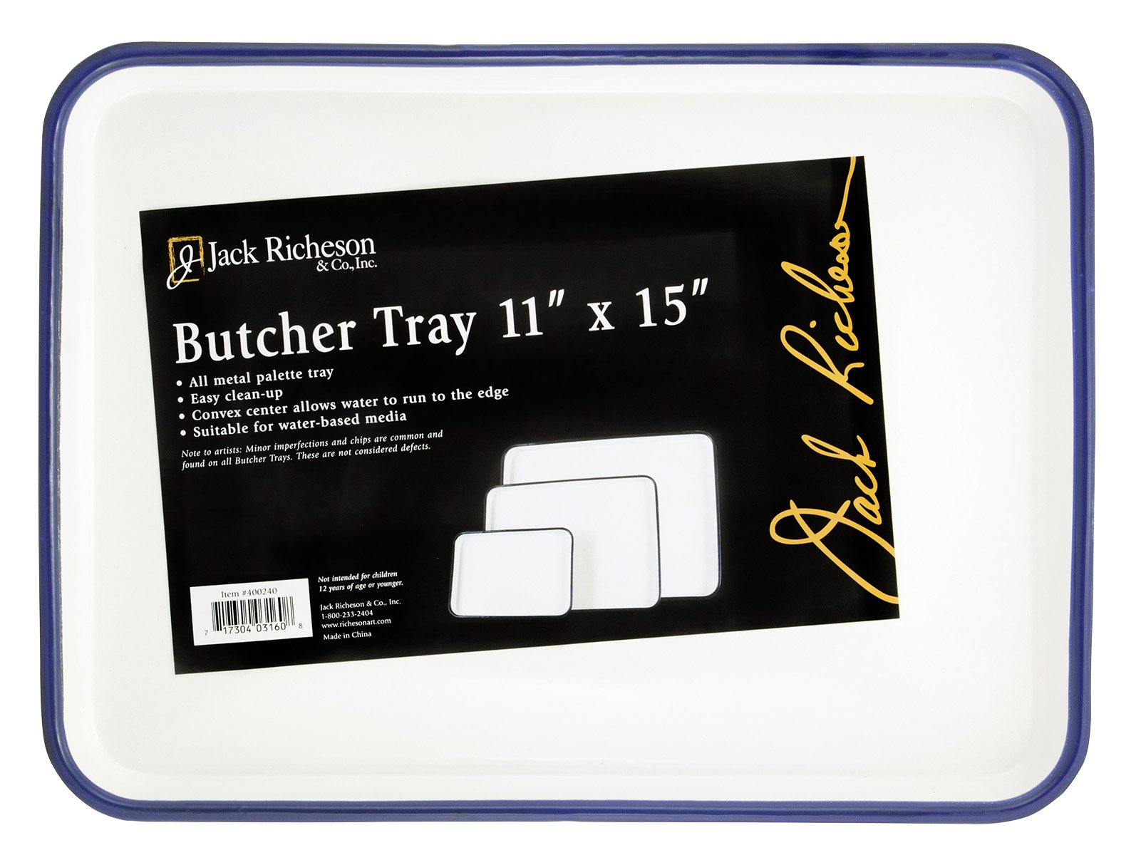 Jack Richeson Butcher Porcelain Palette Tray, 11 x 15 in, White