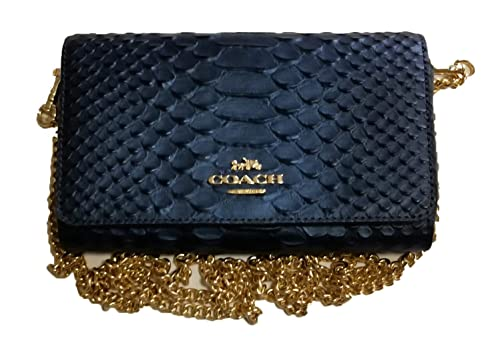 418828e164821 Coach Crocodile-Embossed Leather Dressy Clutch Purse Wallet Crossbody  Evening Bag with Refined Glovetanned Calf