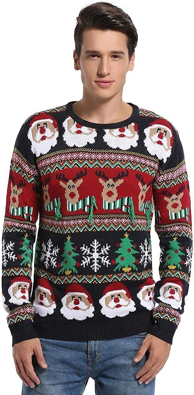 daisysboutique   Daisyboutique Mens Christmas Decorations Stripes Sweater Cute Ugly Pullover