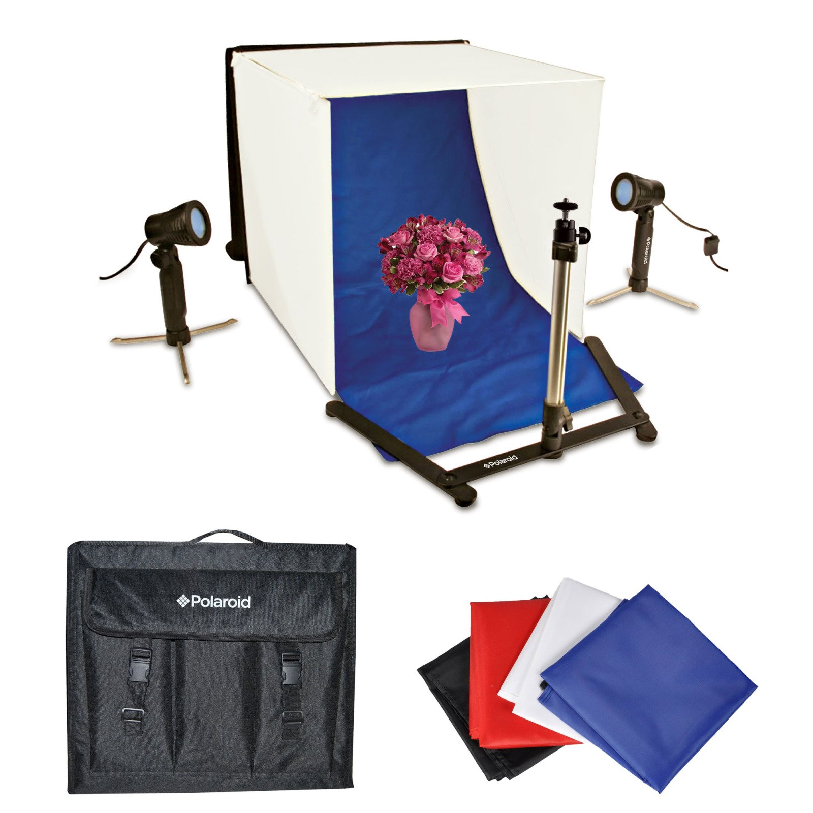 Polaroid Photo Studio Light Tent Kit, Includes 1 Tent, 2 Lights, 1 Tripod Stand, 1 Carrying Case, 4 Backdrops (Black, Blue, White, Red) by Polaroid