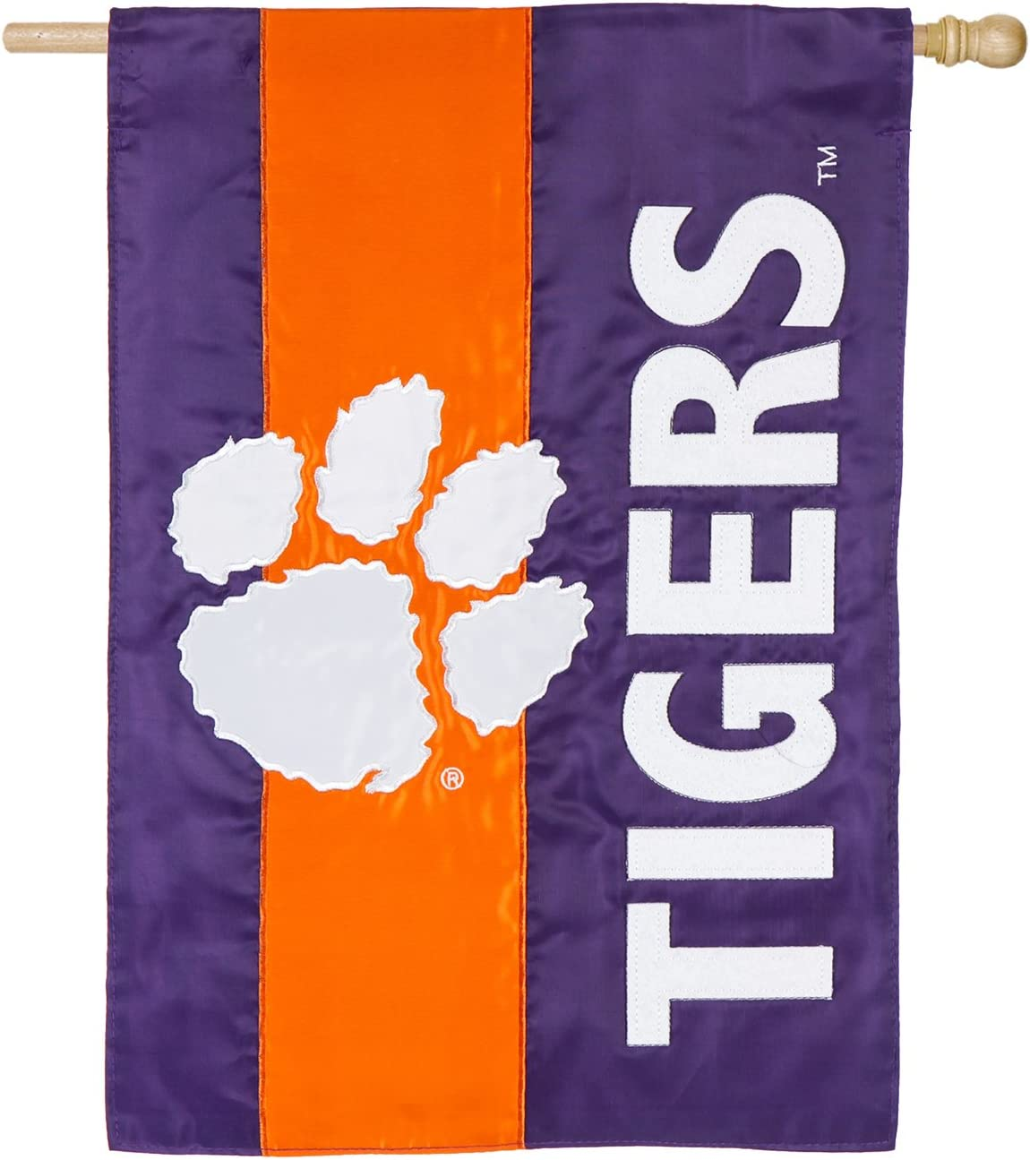 Team Sports America Double Sided Embellished Flag for Tigers Fans! Officially Licensed Clemson University Weather and Fade Resistant Outdoor Flag 44 x 28 Inches