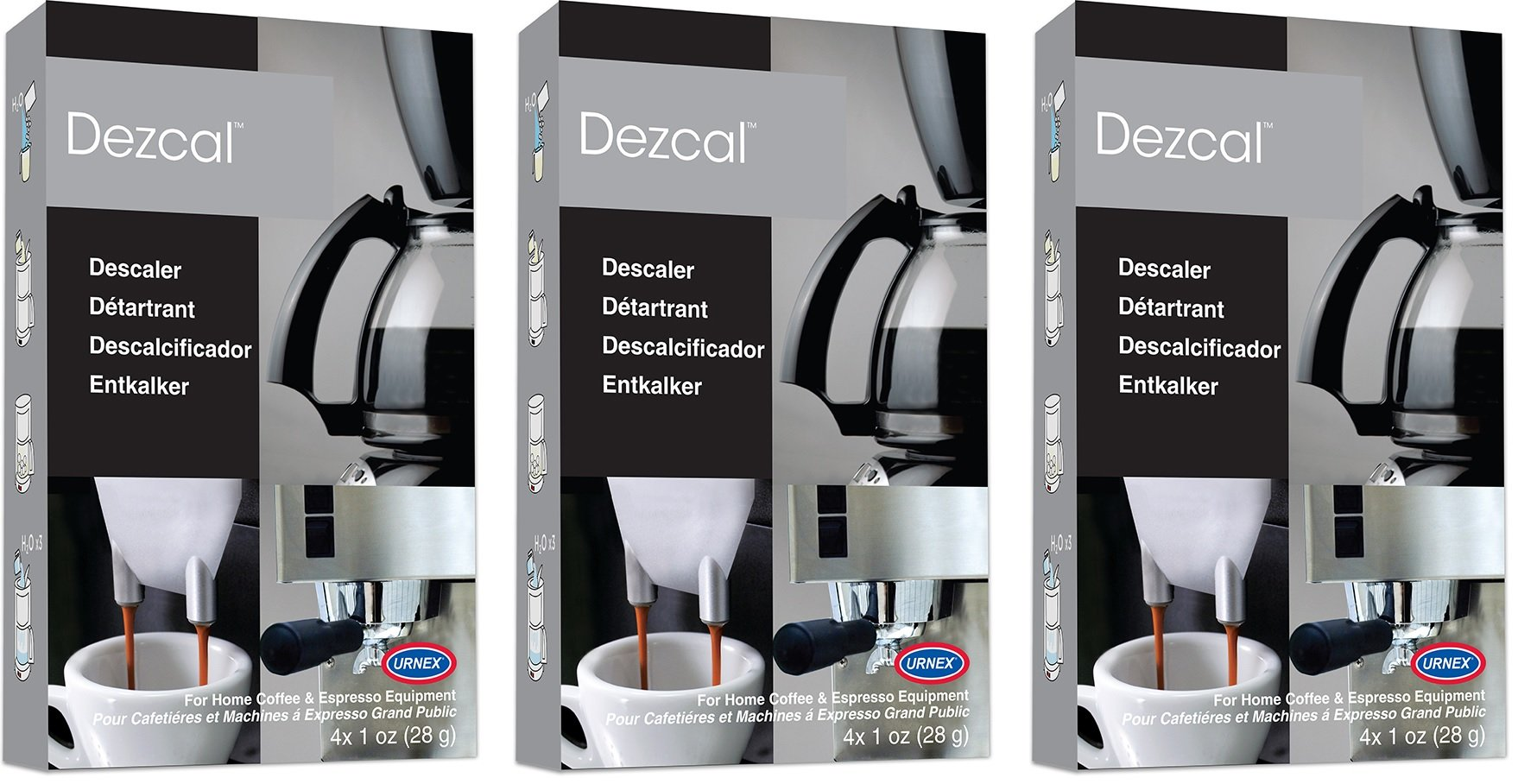 Urnex Dezcal Coffee & Espresso Descaler and Cleaner - 3 Pack - Activated Scale Remover Use With Home Coffee Brewers Espresso Machines Pod Machines Capsule Machines Kettles Garmet Steamers