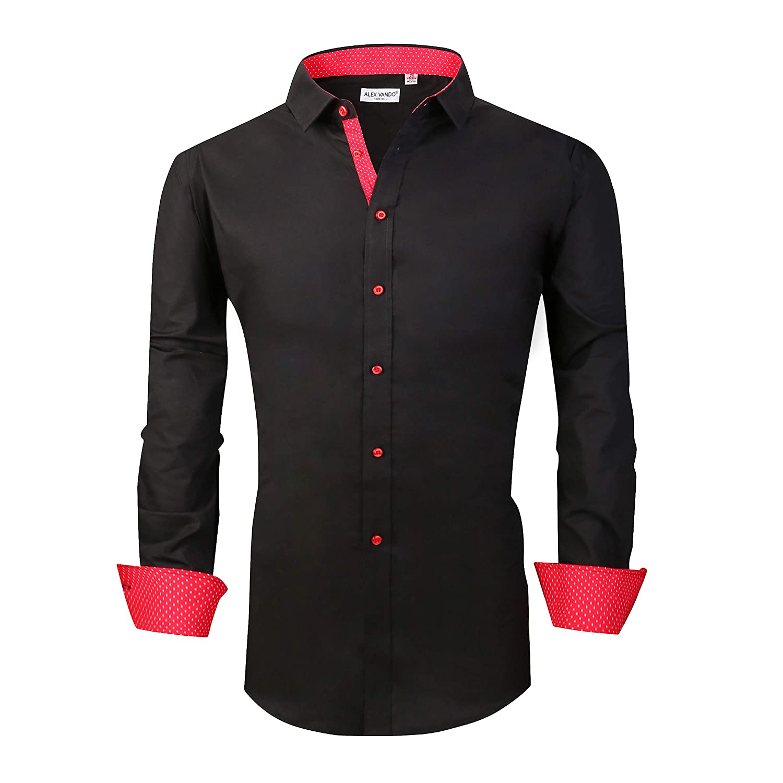 05ec57d71c5 Alex Vando Mens Big   Tall Dress Shirts Regular Fit Long Sleeve Men Shirt  at Amazon Men s Clothing store