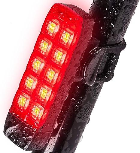 Leynatic Luz Trasera de Bicicleta, Impermeable, Recargable USB (no ...