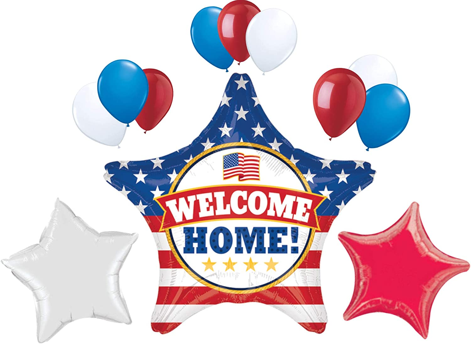 Welcome Home 19 Inch Patriotic USA Military Armed Forces Star Balloon Party Decoration Set. Red White and Blue Balloons. By PartyBox!