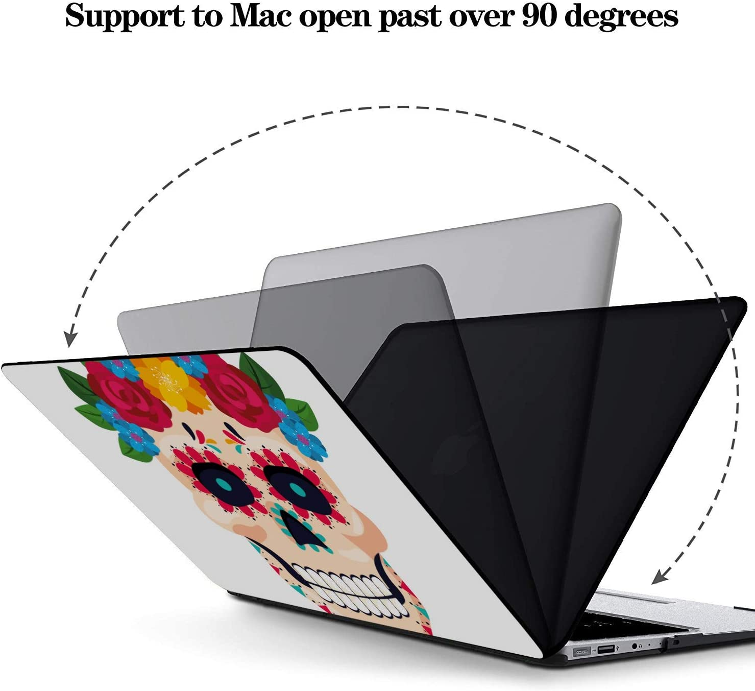 MacBook Pro Accessories Colorful Cute Flower Sugar Skull Plastic Hard Shell Compatible Mac Air 11 Pro 13 15 Cover MacBook Air 13 Protection for MacBook 2016-2019 Version