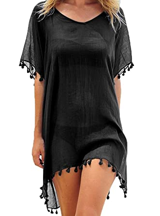 124417f04255e Quceyu Womens Chiffon Beachwear Tassel Beach Dress Bikini Swim Bathing Suit  Cover up (Black): Amazon.co.uk: Clothing
