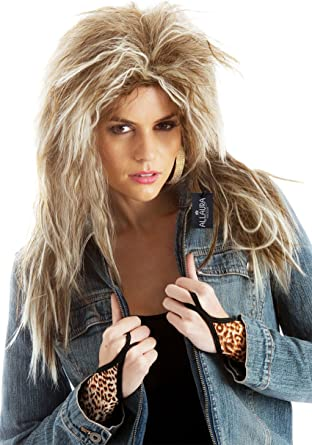 Tina Turner Costume Wig 80s Rocker Cosplay Women Men Mullet Hair Curly Blonde