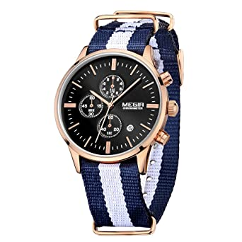 Amazon.com: MEGIR Men Watches Casual Quartz Wristwatches Blue-White Canvas Strap Black Dial relojes: Watches